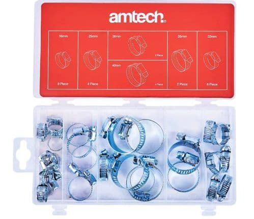 Amtech S6290 Assorted Hose Clamp, Jubilee Clips, 26-Piece